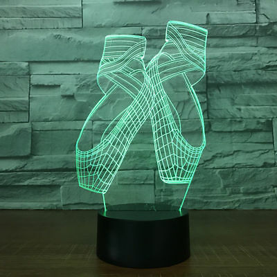 7 Colors Ballet Shoes Modeling 3D Magic Lamp LED Night Light Bedside Lamp