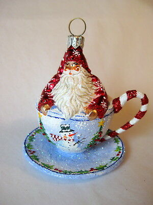 """""""Tea For Two"""" Patricia Breen Glass Christmas Ornament; 2005 CATZ Excl., MWT!"""