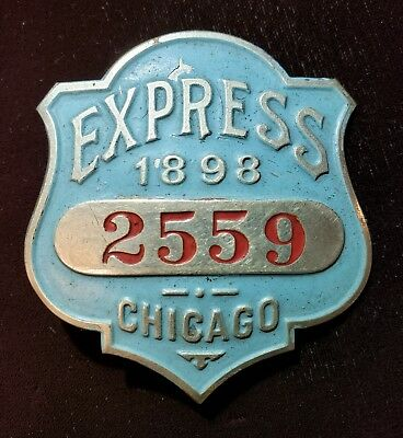 Antique 1898 Chicago Il Automobile Horse Replacement Gas Steam Chauffeur Badge