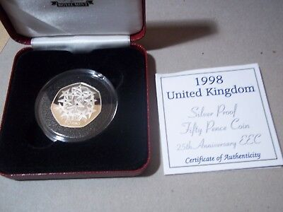1998 SILVER PROOF 50 P 25th ANNIVERSARY OF THE EEC MINT + COA