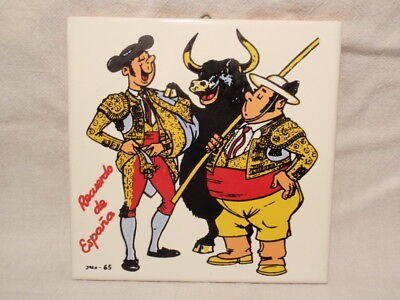 "Spain Souvenir Tile Art: Comical Bullfighters & Bull Signed ""Joan – 65"""