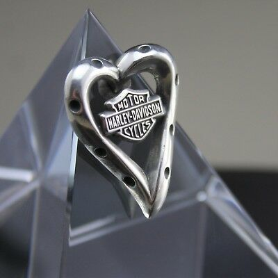 """Authentic Motor Harley Davidson """"Dotted Heart"""" Floating Pendant Sterling Silver"""