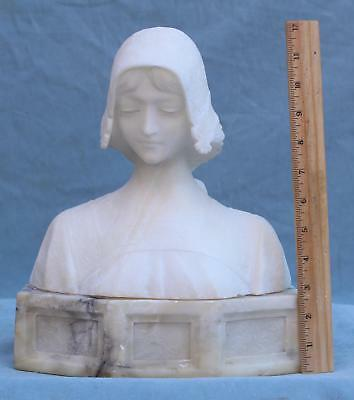Antique Signed Victorian Hand-Carved Alabaster Bust Beautiful Young Woman