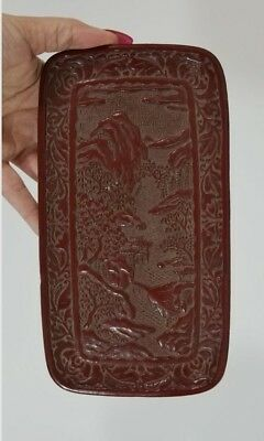 Small Antique 19thC Chinese Qing, Hand Carved Landscape Cinnabar Plaque