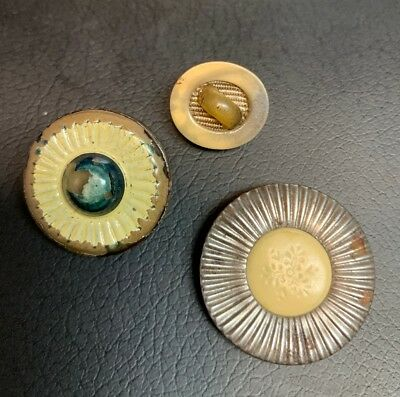 Lot of 3 Vintage Celluloid/Metal Buttons Cream/Beige/Silver Great Shapes 5/8- 1""