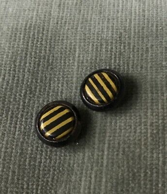 Pair of Vintage Celluloid Black/Cream Striped Buttons 5/8""