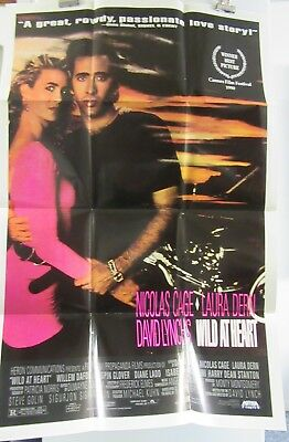 Wild at Heart David Lynch folded one-sheet home video movie poster plus teaser