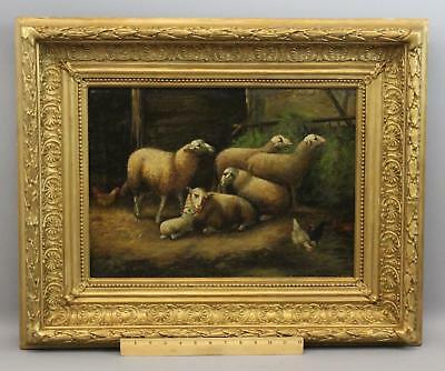 19thC Antique Signed Country Farm Barn Interior Sheep & Chickens Oil Painting NR