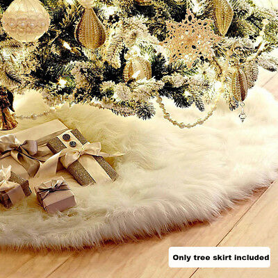 CLEARANCE 122cm Christmas Tree Skirt White Stand Ornaments Xmas Party Decoration
