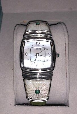 Beautiful Sterling Silver Ladies Ecclissi Watch & Leather Band w Sterling Clasp
