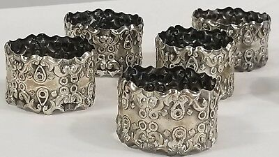 Set Of 6 Sterling Silver Napkin Rings