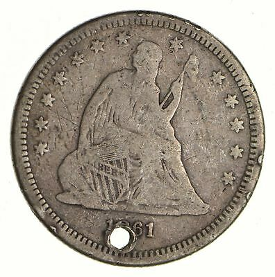 TOUGH - 1861 Seated Liberty Quarter - Early US Type Coin - Historic *523