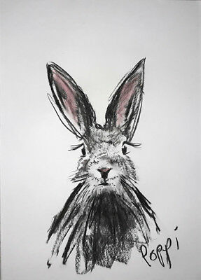 A3 ORIGINAL ART * Charcoal on Art Paper * BUNNY RABBIT    * Art By Poppi