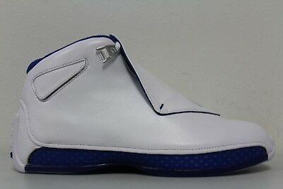 Nike Mens Air Jordan 18 Retro XVIII White Royal Blue AA2494-106 Size 10.5