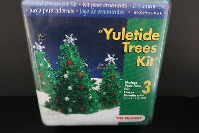 The Beadery Yuletide Trees Kit 5490 Christmas Beaded Ornament Craft Makes 3 NEW
