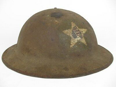 WWI Painted Helmet 2nd Division AEF Army Sanitary Train M1917