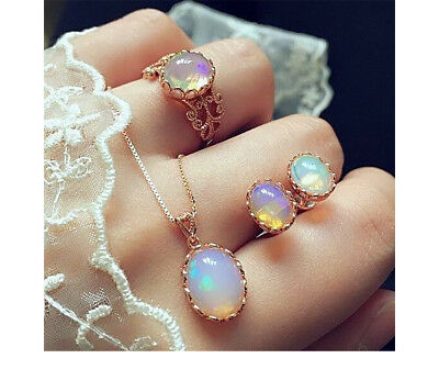 Fashion Moonstone Pendant Necklace Earring Ring Women Jewelry Set Gift NT312