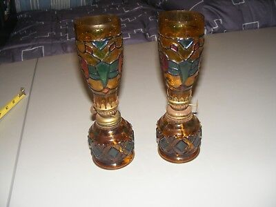 Pair of Vintage Amber Stained Glass Oil Lamps 1960s Hurricane Lamp Hong Kong