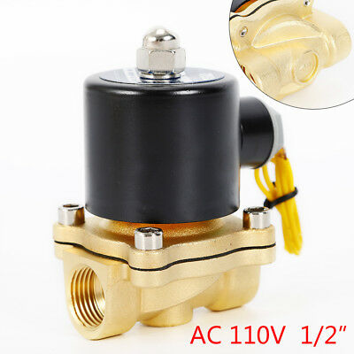 """110V Electric Solenoid Valve Switch Water Air 1/2"""" Brass Normally Closed 100PSI"""