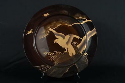 M7695: Japanese Wooden Bird Bamboo Pine gold lacquer pattern PLATE/Dish