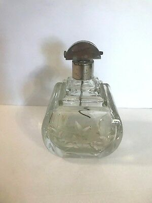 """VTG Glass Large Perfume Square Bottle Clear 6"""" Tall Floral Cut Silver Cap Topper"""