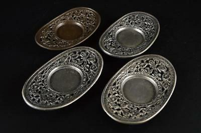 G1386: Japanese Tin Copper Flower sculpture TEA CUP TRAY Saucer Chataku 4pcs