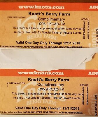 2 Knotts Berry Farm southern california 1 day amusment park ticket youth adult