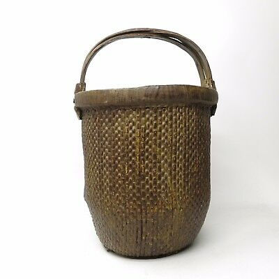 Vintage Old Chinese Woven Willow Rice Tall Gathering Basket w/ Handles