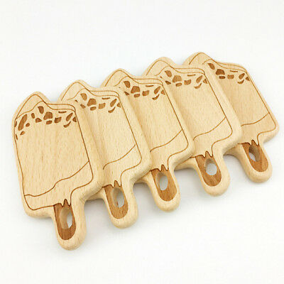 Wooden Ice Cream Design Teether Teething Safety Natural Beech Baby Gift Toys MH