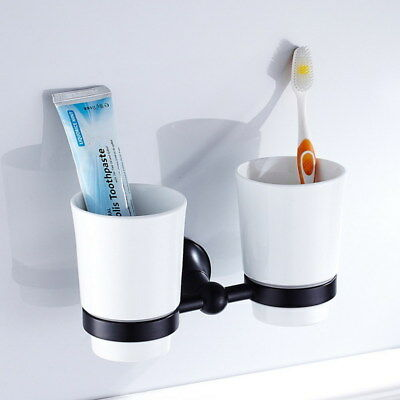 Oil Rubbed Bronze Bathroom Ceramics Double Toothbrush Tumbler Holder Wall Mount