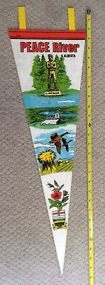 """Peace River Alberta Canada 1970's Vintage Pennant 28"""" w View Of Local Scenery"""