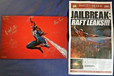 2018 SDCC Spider-man PS4 SIGNED Poster Insomniac Games Daily Bugle