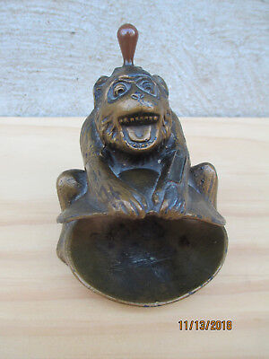 Vintage Brass Bronze Colored Pot Metal Monkey Ashtray Holding Sea Shell