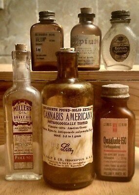 Old Medicine Bottle Hand Crafted,Opium,Quaalude,Bayer w/Heroin,Cannabis,Valium6
