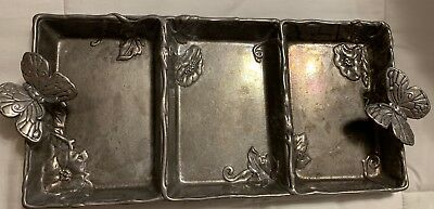 Rare ARTHUR COURT SIGNED Butterfly CANDY/NUT RELISH 3-section DISH TRAY. 2004