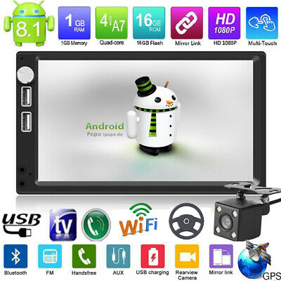 "Autoradio 2Din 7"" Android8.1 Car Stereo MP5 Player BT WiFi GPS Nav FM+Telecamera"