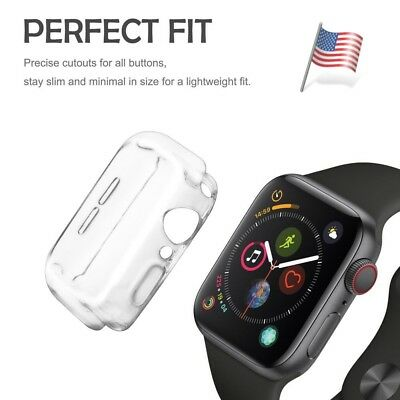Clear Case For Apple Watch Series 4 Clear Soft TPU Full Screen Cover - 44mm