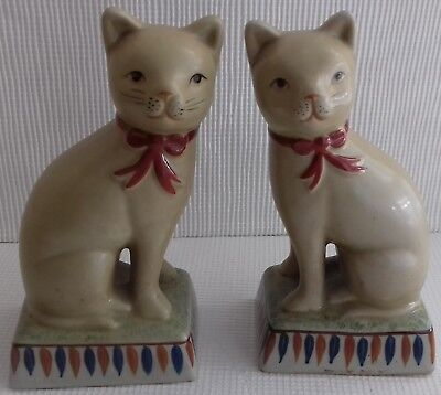 A Pair Of Ornamental Pottery Cats
