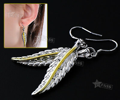 Pair of Silver Earrings Hook Drop Sterling Antique Feather Dangle 38mm Height