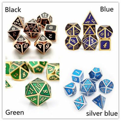 7Pcs/Set Metal Polyhedral Dice DND RPG MTG Role Playing and Tabletop Games