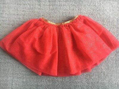 Girls Skirt M&S 12-18months. Red With Gold Glitter Tutu, Party Skirt Christmas