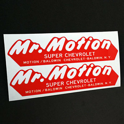 Pair of MR. MOTION, BALDWIN CHEVROLET NY Vintage Style DECALS, Vinyl STICKERS