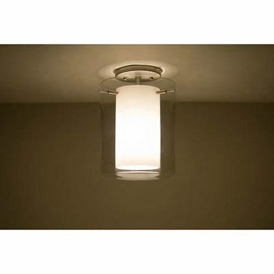 Pahu 8 Satin Nickel One-Light Semi Flush Mount with Clear and Opal Glass