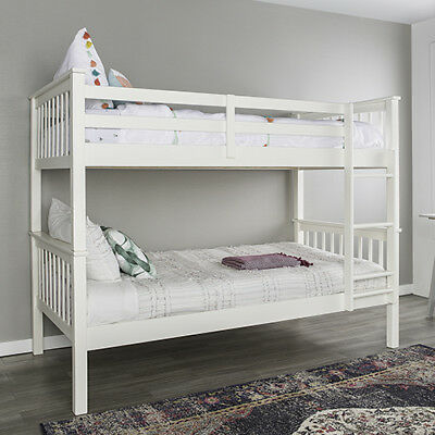 Twin over Twin Solid Wood Mission Design Bunk Bed - White