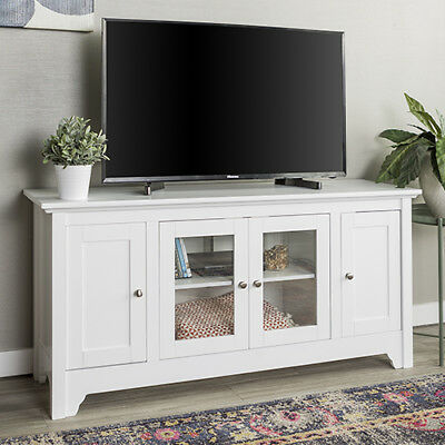 Walker Edison Furniture Co 52 Inch Wood Tv Media Stand Storage Console White