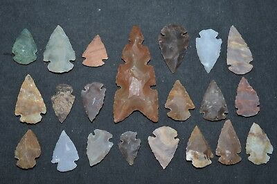 "21 PC Flint Arrowhead Ohio Collection Points 1-3"" Spear Bow Stone Hunting Blade"