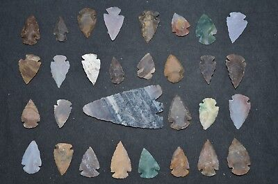 "30 PC Flint Arrowhead Ohio Collection Points 1-3"" Spear Bow Stone Hunting Blade"