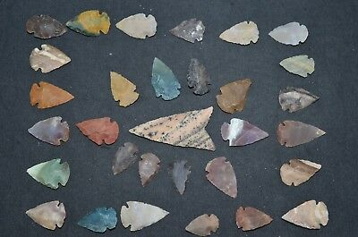 "31 PC Flint Arrowhead Ohio Collection Points 1-3"" Spear Bow Stone Hunting Blade"