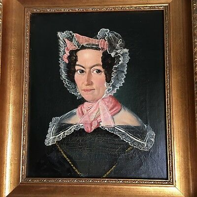 Antique 19th Century European Oil On Canvas Portrait of a Lady with Lace Bonnet