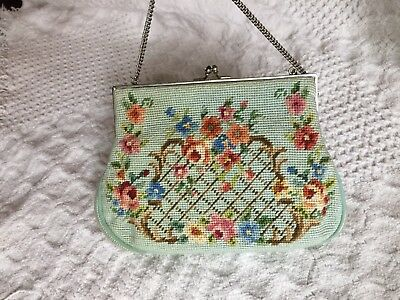Vintage Floral Needlepoint Tapestry Bag Purse, hand made, with chain